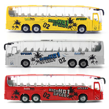 1:50 Diecast Bus Metal Model Car Toys Alloy Bus Toy with Openable Doors/Music/Light/Pull Back Function for Boys(China)