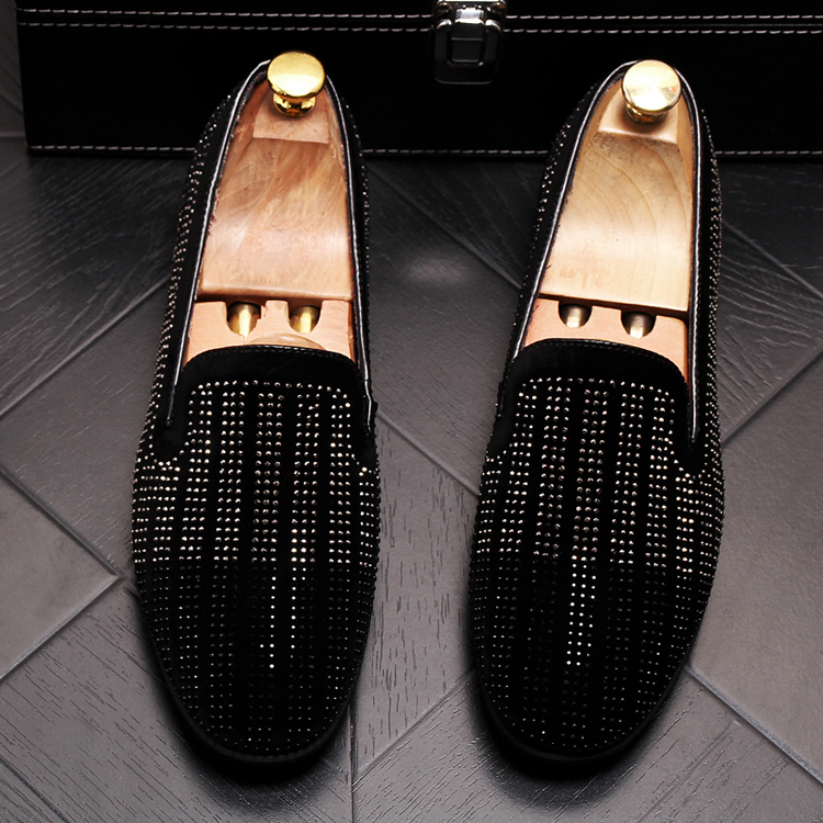 2019 New Gradient Striped Rhinestones Loafers shoes SmokingSlippers Dress Wedding Party Flats Casual Moccasins shoe 44 Online shopping Bangladesh