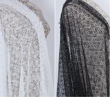 Fine workmanship embroidered allover flowers cord lace fabric chemical lace polyester Grey Black Light ivory lady dress lace NEW(China)