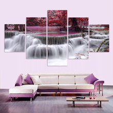 movie poster and HD prints oil painting kids room decoration nordic 5 piece canvas art Maple Leaf Modular pictures home decor(China)