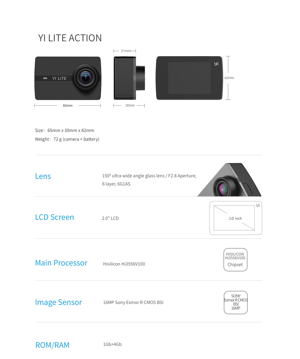 YI Lite Action Camera Sports Camera 16MP 2 Inch LCD Screen Real 4K with Built-in WIFI 150 Degree Wide Angle Lens Global Version 12