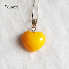 Yoowei Natural Amber Necklaces for Women Heart Shape Genuine Baltic Honey Amber Stone Jewelry Women Men Jewelry Gifts Suppliers(China)