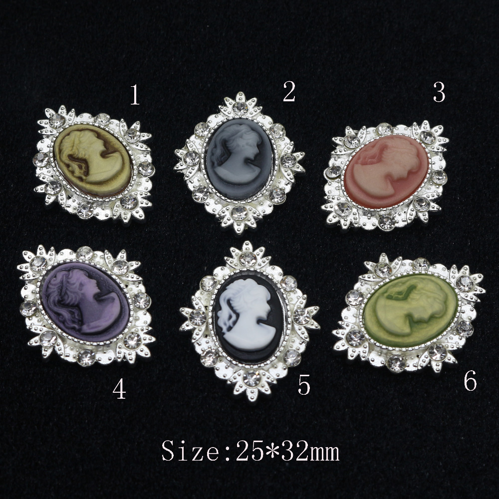 10pcs/Resin Beauty Avatar Oval Rhinestone Buttons girl hair accessories metal buckle 2017 Diy Wedding Invitation Shiny Buckle(China)
