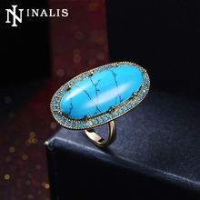 INALIS Gold/Black Gold Color Vintage Rings with Big Oval Turquoises Stone for Women Fashion Statement Jewelry Lady Cocktail Ring