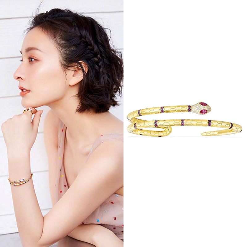April collection Egyptian gold color Snake bracelet silver 925 Stretch Cuff bangle Inlay Red Cubic  zircon Women Monaco Jewelry