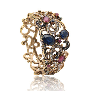 Vintage Turkish Flower Bangles Women Jewelry Retro Gold Plat Hollow Roll Grass Pattern Bracelets Luxuries Ethnic Crystal Bijoux