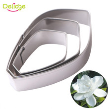 Delidge 3pcs/set Stainless Steel Cookie Cutter Mold 3D Gardenia Flower Petal Sugarcraft Fondant Cake Mold DIY Cake Tools