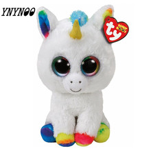 (YNYNOO)TY Leapord &Unicorn Big Eyes Plush Toys Ty Beanie Boos Kids Lovely Children Gifts Kawaii Stuffed Animals Dolls  Present