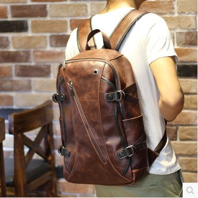 PU Leather Man Bags 2017 Original Design Leather Backpack Vintage Leather Backpack Travel Backpacks Bagpack Bolsos<br>