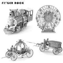 Finger Rock 3D Puzzles Metal DIY Mini Jigsaws intelligence Toys Assembly Building Model Mickey Sky Wheel Princess Carriage Gift