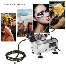 3 Airbrush Kit With Air Compressor Dual-Action aerografo Hobby Spray Air Brush Set Tattoo Nail Art Paint Supply w/Cleaning Brush(China)
