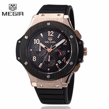 Megir Sport Quartz Clock Mens Watches Top Brand Luxury Chronograph Quartz-watch Silicone Gold Male Wristwatch Relogio Masculino