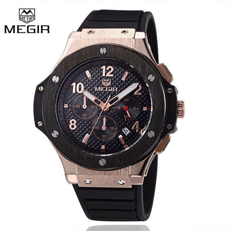 Megir Sport Quartz Clock Mens Watches Top Brand Luxury Chronograph Quartz-watch Silicone Gold Male Wristwatch Relogio Masculino<br><br>Aliexpress