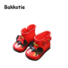 Bakkotie 2017 Kid Shoe Baby Boys Rain Boots Girl Little Adorable Fashion Water Shoe Cartoon Apricot Non Slip Children Blue Bow(China)