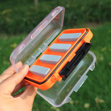 Waterproof Fly Fishing Double Side Clear Slit Foam Fly Fishing Boxes Plastic FLY BOX Tackle Case Box 4.3 x 2.75 x1.2