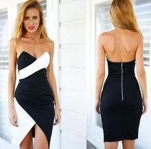 Brand New Sexy Black And White Mixed Colors Wrapped Chest Backless Dress Slim Package Hips Back Zipper Vestido Elbise EZ152