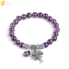 CSJA Natural Gem Stone Purple Crystal Bracelets Bangle Tree of Life Tibetan Prayer Rosary Mala Bead Bracelet for Meditation E746(China)
