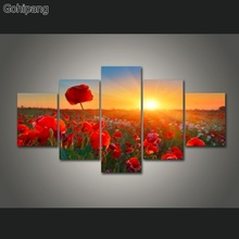 5 Pieces/sets Canvas Art 5 panels Nature Sun Flowers and plants Canvas Painting Decorations For Home Wall Art Prints Canvas(China)