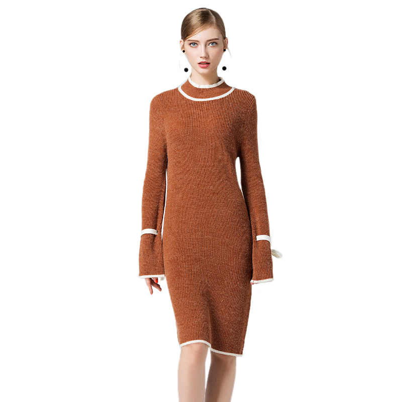 Women Elegant Dress Fashion Casual Contrast Color Turtleneck Retro Dresses for Women Long Sleeves Cotton Blend Knitted SweatersÎäåæäà è àêñåññóàðû<br><br>