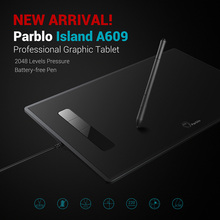 Professional Parblo Island A609 Graphic Tablet 8x 5 inches 220 RPS 5080 LPI with 2048 Levels Pressure Battery-free Pen