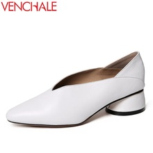 Buy VENCHALE woman casual pumps 2018 ladies pointed toe soft genuine leather 4 cm mid heel spring autumn concise women shoes 33-40 for $41.25 in AliExpress store