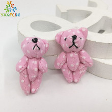 2pcs/lot 3.5CM pink mini plush teddy bear with candy bag small joint teddy bear wedding gift baby born party supply