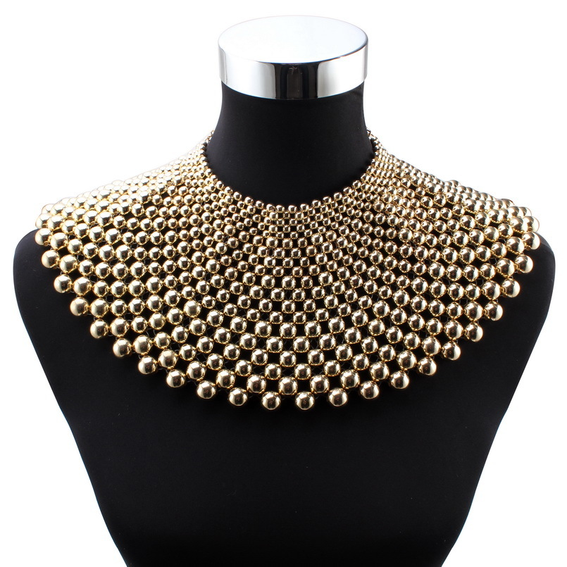 Vintage Jewelry Statement Necklace Chunky Loose Bead Bohemian Choker Pendant Bib