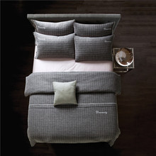 IvaRose 4pcs cotton lines Duvet cover quilt cover set Business man bedding sets plaid  fitted sheet Solid color beige gray