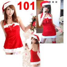 Hot Sale Red wholesale Sexy Christmas Costume+hat+Belt Sleepwear Cosplay Uniform High Quality Sexy Lingeries 101(China)