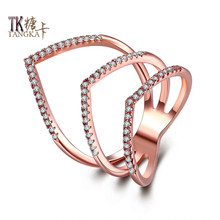 TANGKA fashion design double love shape titanium steel ring shop small zircon charming female party exquisite ring jewelry
