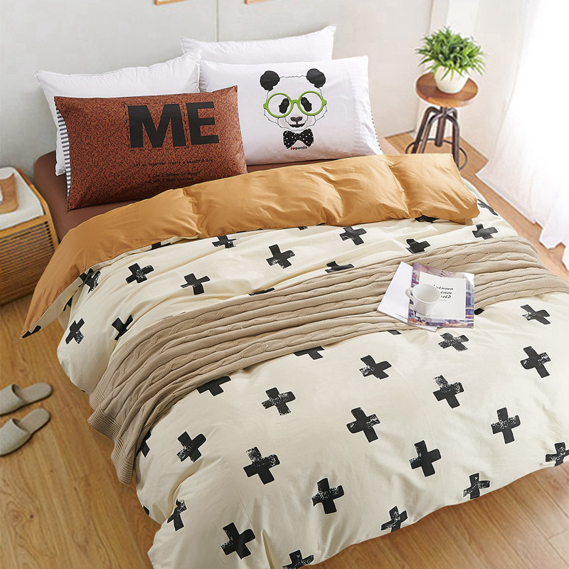 Black And White Bedding Set Panda 100 Cotton Bed Sheet Bedspread Duvet Cover