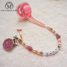 Buy MIYOCAR Personalised -Any name Princess Bling pink pacifier clips/soother chain holder Dummy clip/Teethers clip baby for $11.99 in AliExpress store