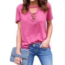 Tshirts Women Feminino 2017 Solid Short Sleeve Choker V Neck Lace Up T-Shirt Loose Casual Summer Shirts Basic Tops Tees GV602