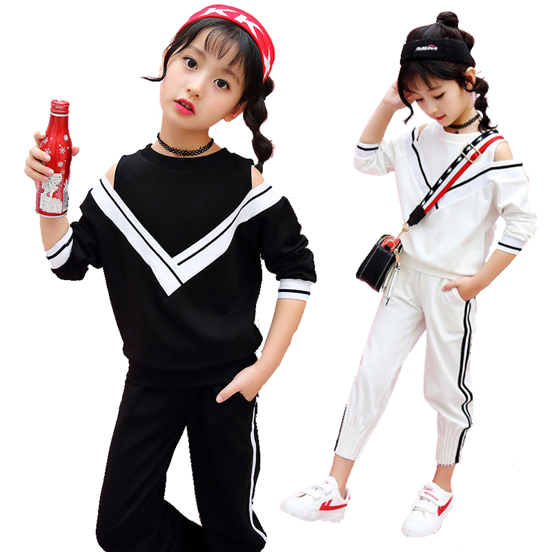 Spring fall white black girls off shoulder sweatshirts + pants 2 pcs set kid tracksuit sports suits children clothing 100-160cm<br>