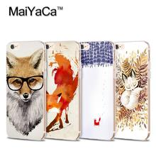 MaiYaCa Mr Fox with glasses Transparent TPU Soft Cell Phone Protective Cover For iPhone 4s 5s 6s 7 7plus case(China)
