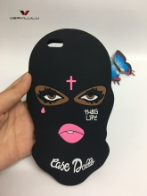 2017 New 3D Big Eyes Masked Teared Girl Jesus Christian Cross Coque Case for iPhone 6s 6 plus 7 plus 5 5S SE Silicone Capa Cover