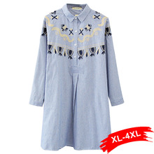 Plus Size Blue Striped Blouse Lace Floral Embroidery 4Xl 5Xl Stand Collar Shirts Long Sleeve Women Tops Chemise Femme Blusas(China)