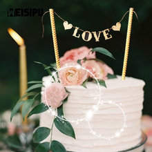 1 Set New Arrival Love Flag Wedding Cake Topper Set for Wedding Party Decoration Cake Decor Supplies
