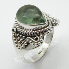 STAMPED Solid Silver Natural APATITE Ring Size 8 Fine Jewelry Store(China)