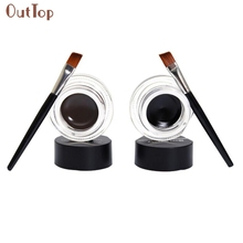 2Pcs Waterproof Long Lasting Eye Liner Gel Eyeliner Shadow Makeup Cosmetic Brush Brown & Black Color Aug5