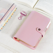 Macaroon Personal Organizer Leather Business Ring Office Binder Notebook Cute Kawaii Agenda Planner 2018 Travel Journal A5 A6 A7(China)