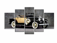 5 panel Vintage car decorative canvas painting classic car home decorative paintings Artwork exhibition wall hanging pictures(China)