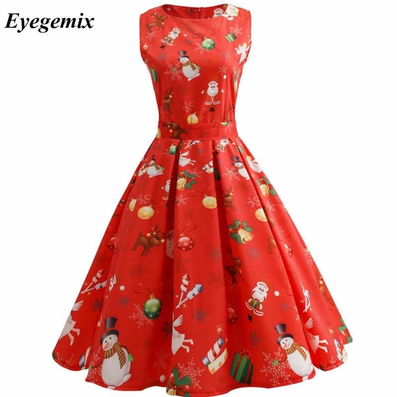 b622e7f37da Detail Feedback Questions about New Arrival 2019 Fashion Elegant Women  Clothing Casual Christmas Print Dresses A Line 50S 60S Vintage Dress  Vestidos Plus ...
