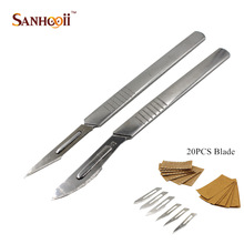 #11 # 23 Knife Handle & 20PCS Blade Carbon Steel Surgical Scalpel Blades Live Tissue PCB Circuit Board