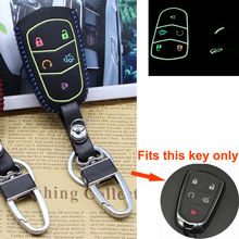 BBQ@FUKA Fit For Cadillac Key Fob 5 Buttons Leather Luminous Remote Cover Key Case Bag with keychain keyring