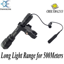 500Meters Long Range Light ~ DanceLite 802 CREEXM-L2 U3 LED Hunting Flashlight + Remote Switch + Gun Mount