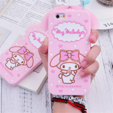 Cute Cartoon 3D Hello kitty My Melody Bow Neck Strap Soft Silicone Phone Cases Cover For iPhone 7 7Plus 4 4S 5 5S SE 6 6S 6Plus