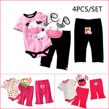 Brand Spring Summer Autumn Baby Girls Set Romper Pants Bibs Girls Clothes Set Baby Garments