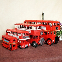 London Bus Double-deck Sightseeing Bus Model Handmade Metal Car Decoration Christmas Decoration Crafts Gift