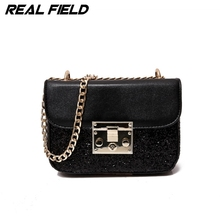 REAL FIELD Metropolis New Fashion Lady Cross-body Chain Pu Leather Evening Bags Messenger Shoulder Bags Design Lock Handbags 203